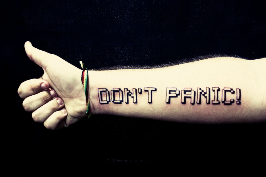 Don't Panic tattoo